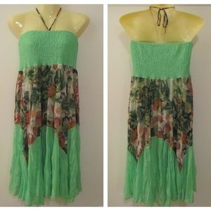 Indian Boutique Green Smocked Floral Flowy Dress